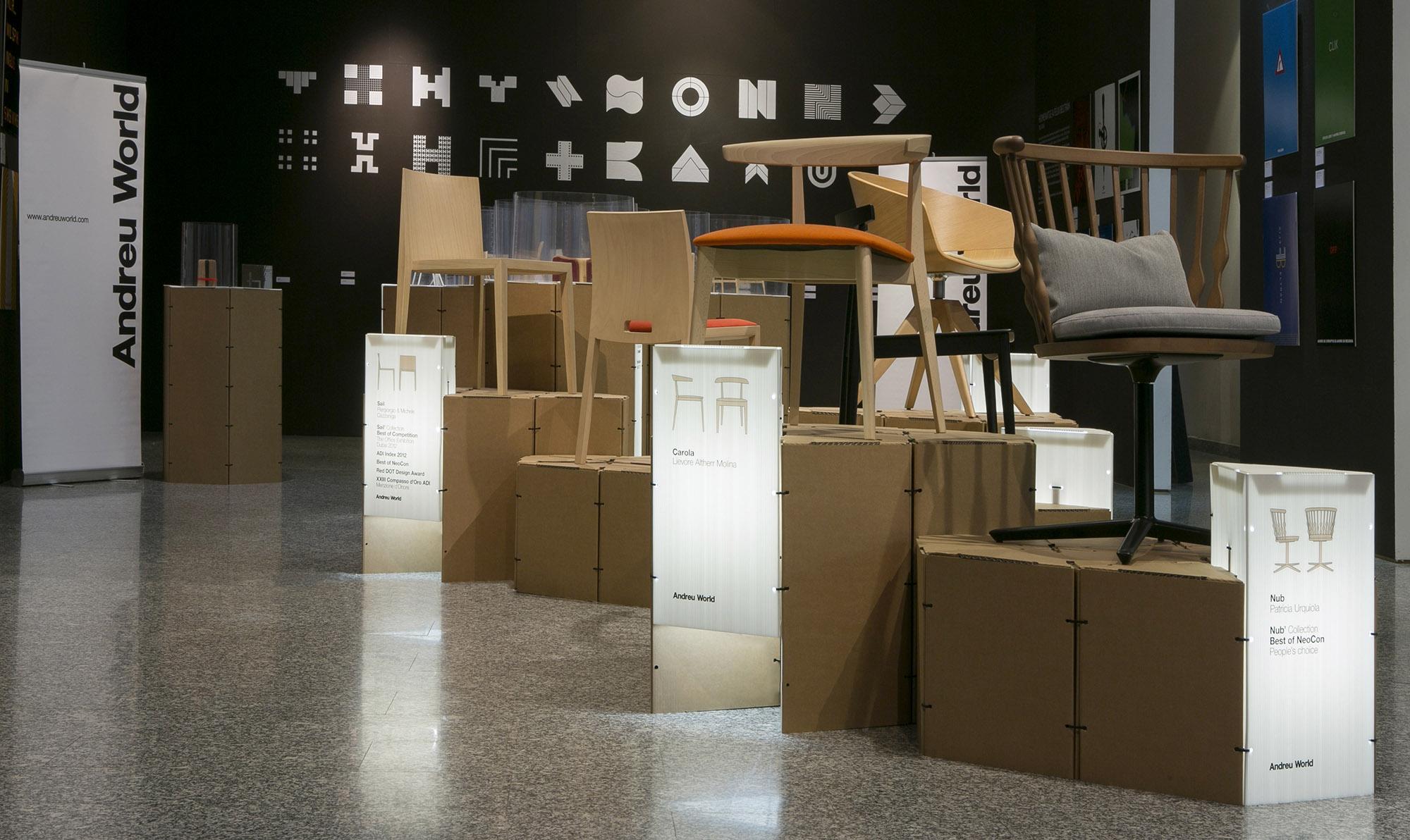 Esposición y entrega de Premios Internacionales de Diseño Andreu World 2014 Montaje Expositivo Diseño de Samaruc Estudio con el Sistema Constructivo en Cartón Triplo* samarucestudio.com Foto Adolfo López fandi.es
