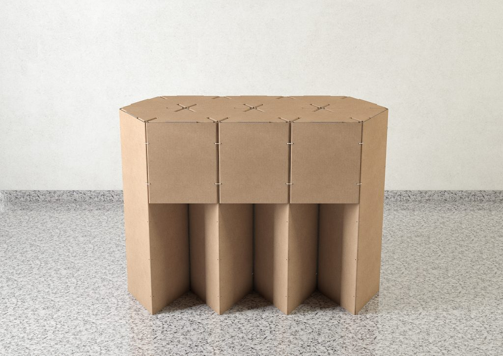Mesa mostrador evento feria apoyo Triplo* reciclado cartón