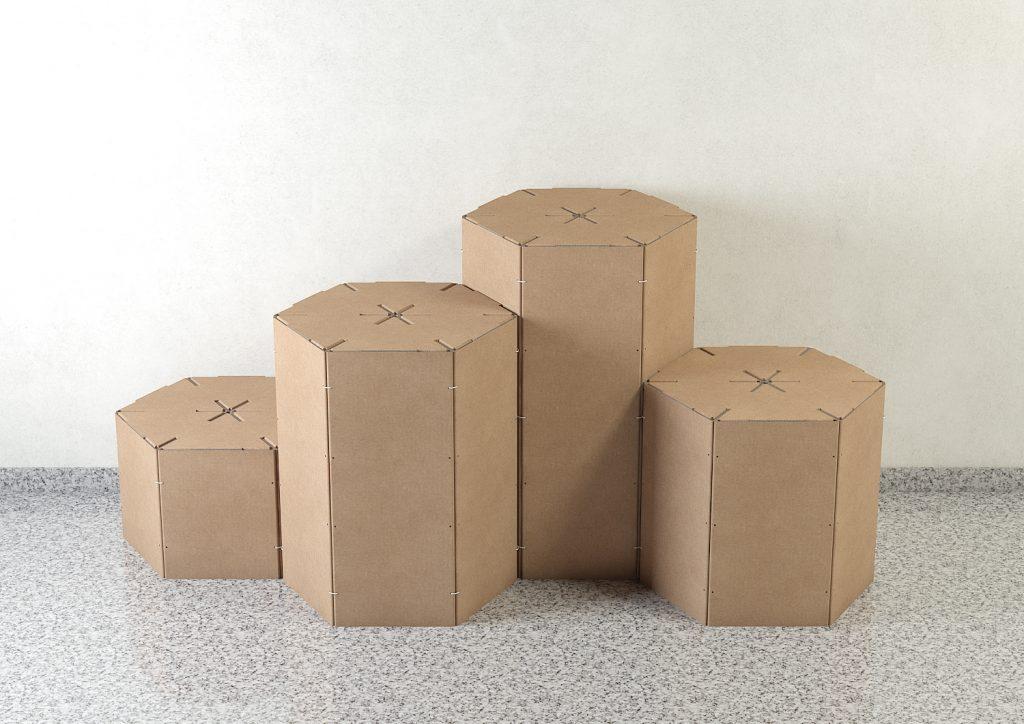 Hexágonos podium penana escaparate corner reciclaje cartón kraft ecologico
