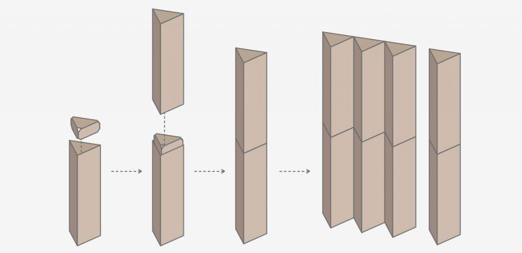 Triplo* sistema montaje piezas varias alturas cartón polipropileno
