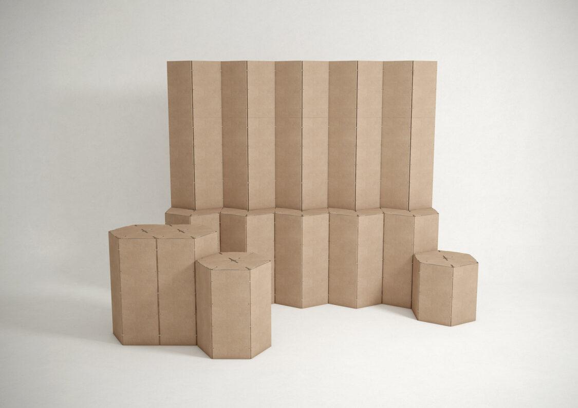 Stand muro trasera mostrador evento feria apoyo Triplo* reciclado cartón